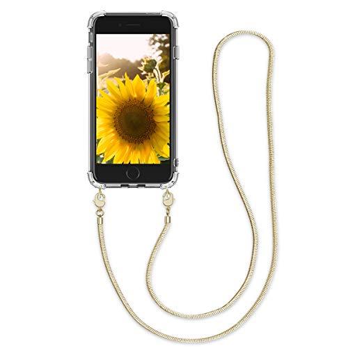 kwmobile Cover a Tracolla Compatibile con Apple iPhone 7 8   SE (2020) - Back Case in Silicone Cover con Laccio Metallico per Il Collo - Custodia con Cordino in Metallo