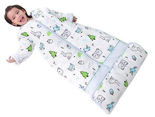 Chilsuessy Winter 2.5 Tog Kinder Schlafsack mit abnehmbaren Ärmeln Bio Babyschlafsack für Jungen und Mädchen von 1 bis 10 Jahre alt (L/Koerpergroesse 100-130cm, Blau Wald)