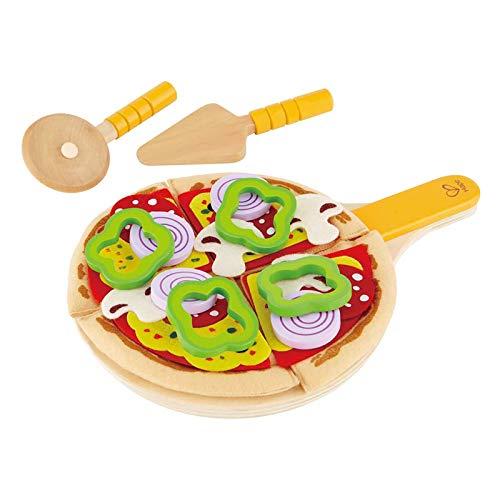 Hape Juego de Cocina de Pizza Casera, Comida de Juguete para Mezclar y Combinar, Pizza de Madera con Base para Cocinar, Condimentos y Accesorios para Servir