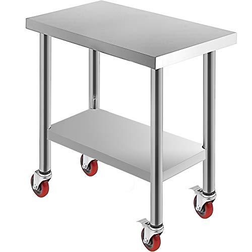VEVOR Tavolo da Lavoro in Acciaio Inox Piano di Lavoro per Cucina 76x45x86cm Piano di Lavoro Professionale a 4 Ruote per La Preparazione di Alimenti