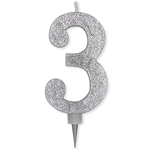 Candela per Compleanno da Torta n°3 in Cera con Glitter Argento 15 cm Festa Bambini (3)