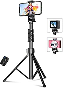 """Selfie Stick Tripod, TEUMI 55.9"""" Extendable Aluminum Cell Phone Tripod with Bluetooth Remote & Carrying Bag, Compatible with iPhone 12 Pro Max, 12 Mini, 11 Pro Max, XS Max, XR, X, 8, Action Camera"""