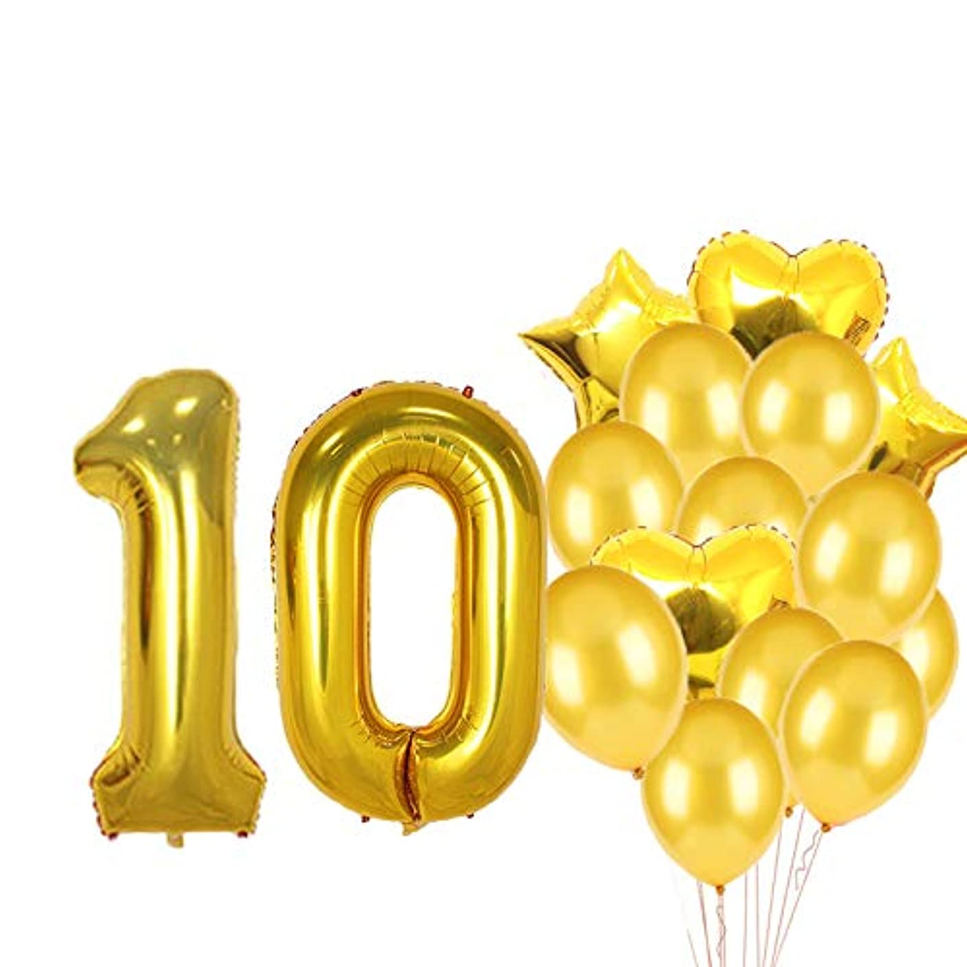 Sweet 10th Birthday Decorations Party Supplies,Gold Number 10 Balloons,10th Foil Mylar Balloons Latex Balloon Decoration,Great 10th Birthday Gifts for Girls,Women,Men,Photo Props