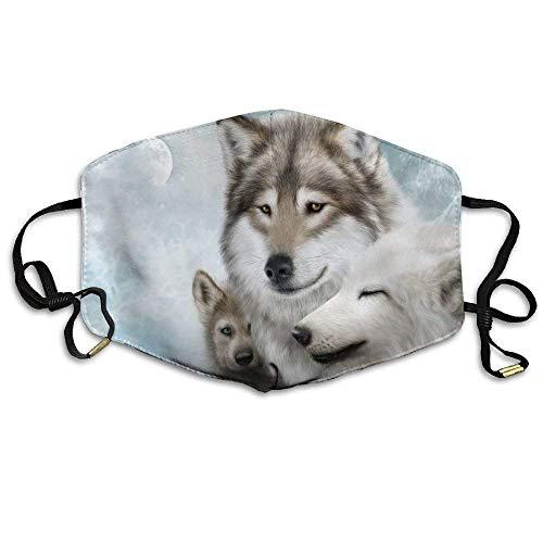 Weiße Wölfe kuscheln Sich zusammen Moon Printed Wiederverwendbare waschbare Gesichtsschutzhülle für den persönlichen Schutz