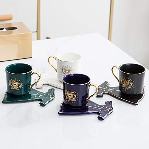 Taza de café de lujo con ojos azules turcos con forma de mano y de vestir, taza otomana Boonido, taza de café capuchino, 200 ml (color : plato de mano verde B)
