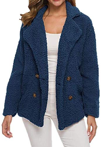 Womens Autumn Winter Sherpa Lined Plain Warm Double Breasted Trench Jacket Pea Coat,1,XX-Large
