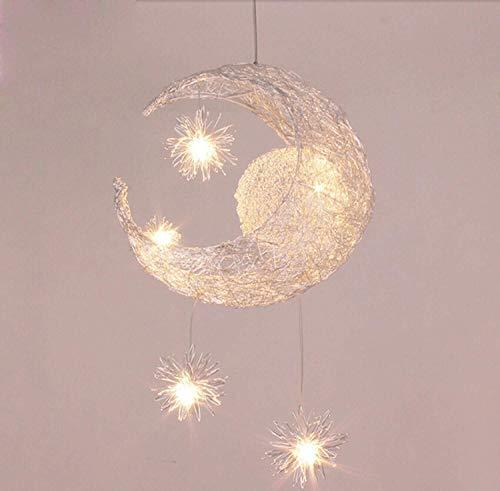 MAONB Fuente de luz LED Moderna Personalizada Luna Estrella araña niños Dormitorio araña lámpara de Techo Colgante en casa Accesorio Decorativo iluminación