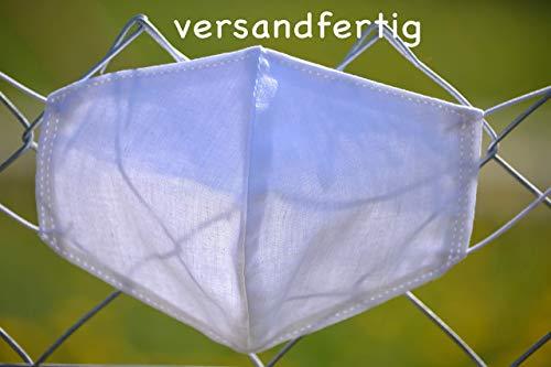 Mund- und Nasenmaske aus Baumwolle, waschbar, umweltfreundlich, nachhaltig, Mann, Frau, Zero Waste, weiß, dünnes Gummiband, Lunaciel