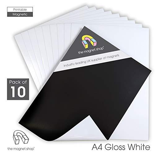 The Magnet Shop Magnetisches Fotopapier - Magnetfolie Bedruckbar - A4 Größe mit Glänzender Oberfläche für Heim- und Bürodrucker – 10er Pack