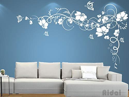 Aidai® Wandtattoo Wohnzimmer Schlafzimmer Kinderzimmer Blumenranke 30 Farben zur Wahl wpf27