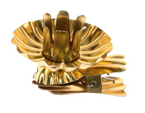 hdg Baumkerzenhalter Clip in Schweifform für Weihnachtsbaum Gold Silber (Gold, 10er)