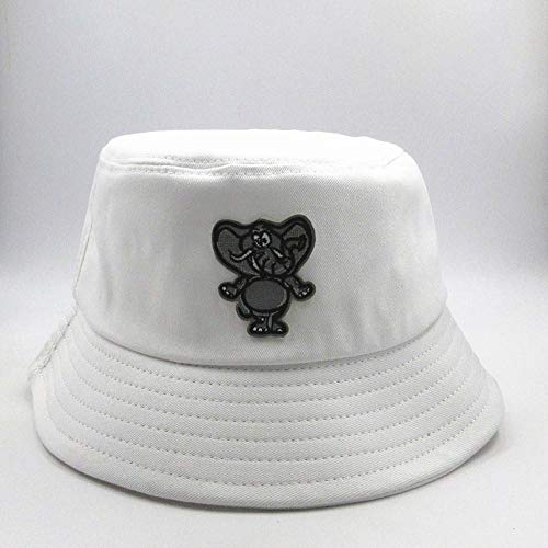 Bucket Hat Elephant Embroidery Bucket Hat Fisherman Hat Outdoor Travel Hat Sun Cap Hats For Men And Women-White
