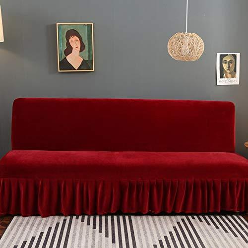 TIYKI Elástica Felpa Funda De Sofa,Cubiertas De La Cama del Sofá Sin Brazos,Se Adapta Plegable Sofá Cama Sin Apoyabrazos-Rojo. L