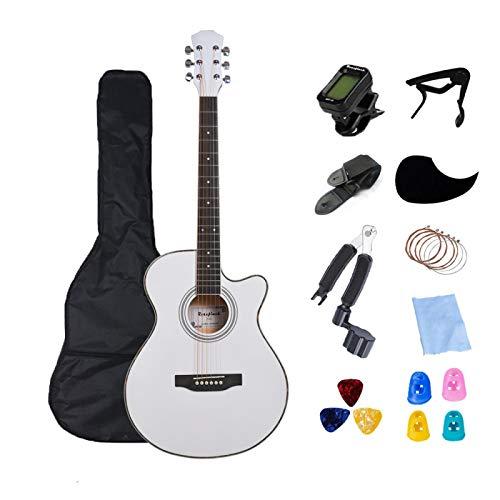 KEPOHK 40 pulgadas Guitarra Eléctrica Cuerpo Delgado Guitarra Acústica Guitarra de 6 cuerdas Profesión Guitarra popular Pop para principiantes Set Regalo 40 pulgadas Blanco