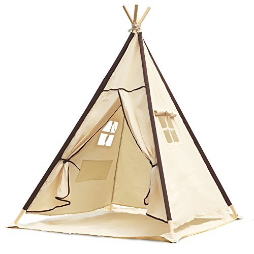 Lavievert children's, girls' play tent, teepee tent, made from 100 % cotton fabric and pine wood poles for indoor or outdoor use with waterproof mat