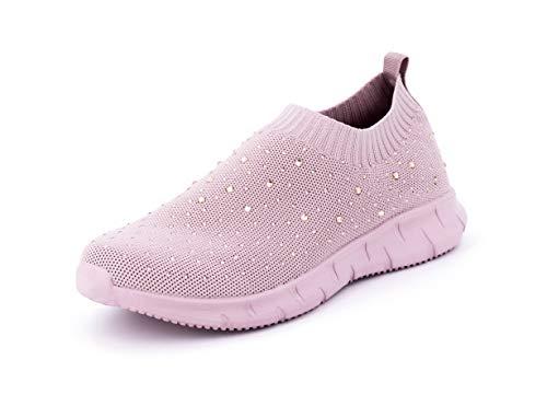 Possidonia Zapatillas Casual con Brillantes para Mujer, Tipo Calcetín, Transpirables Outdoor Ligero Sneakers Talla 36-41EU (Rosa, Numeric_36)