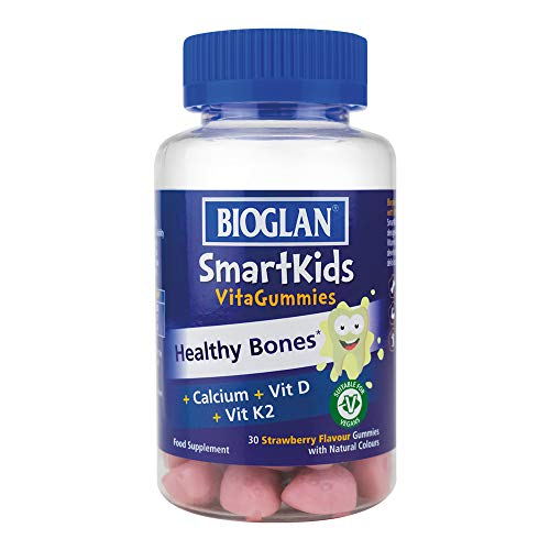 Bioglan SmartKids Healthy Bones with Calcium/Vitamin D2/Vitamin K2 Gummies, Strawberry, 30 Count
