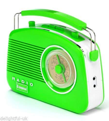 Steepletone Brighton 1950s Portable Retro Style Rotary Radio - Green/White