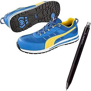 PUMA(プーマ) 安全靴 キックフリップ 25.0cm ブルー×イエロー 消せるボールペン付きセット 64.321.0