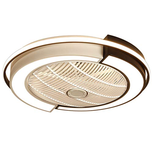 Ventilador de techo LED con lámpara Ventilador de techo regulable ultra silencioso con ventilador de iluminación Lámpara de techo Dormitorio Sala de estar Ventilador Luz de techo(Color:A,Size:?58cm