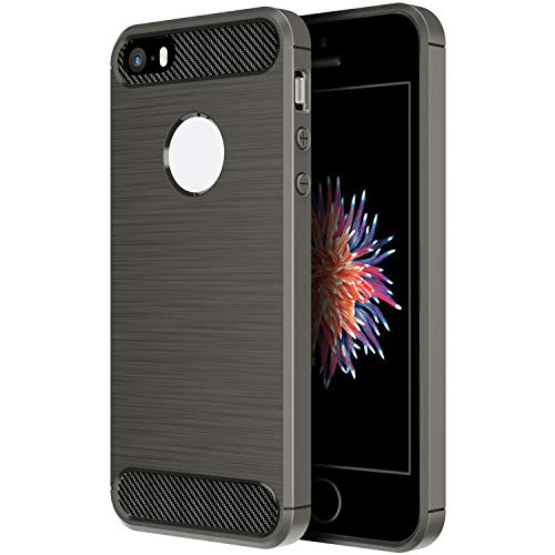Simpeak Funda Compatible con iPhone SE/5S/5, Funda Compatible con Apple iPhone 5S/SE/5 Carcasas Compatible con iPhone 5S/5 Funda Cases Suave TPU Anti Deslizamiento, Gris