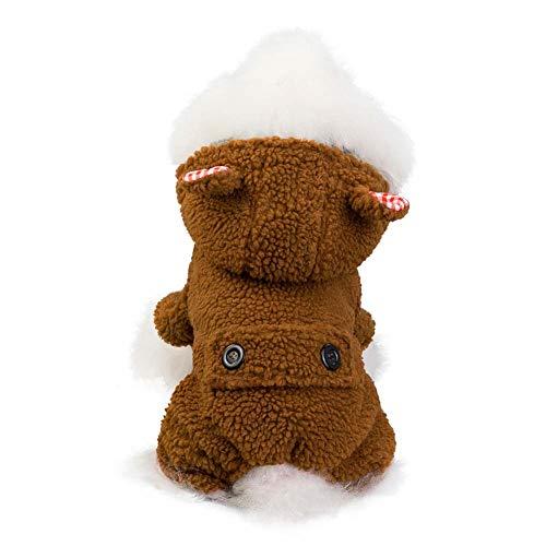 KSITH kleding voor huisdieren, herfst en winter, met capuchon, warme mantel van katoen, kat, viervoeter, M, Bruin