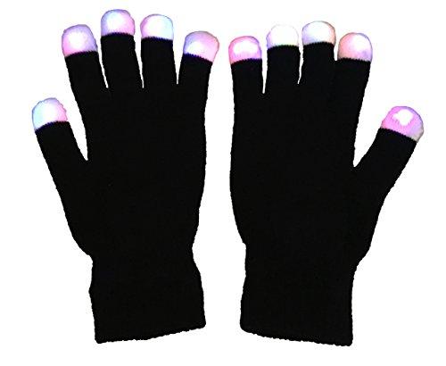 Toyland LED Fete Handschuhe- Mehrfachfarbe Leuchtend Fingerspitzen FL14 Auf