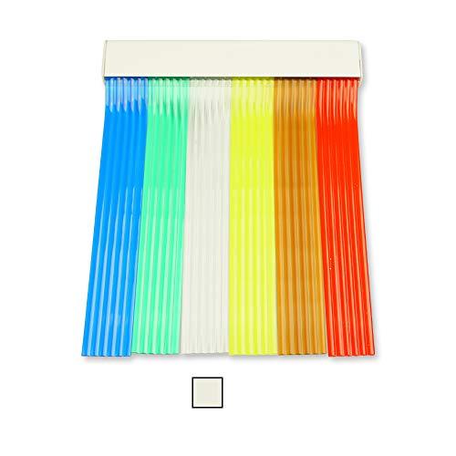 Cortinas Exterior Puerta | 6 Cañas Transparentes | Plastico PVC y Barra Aluminio | Ideal para Terraza y Porche | Antimoscas | Blanco | 210 * 90