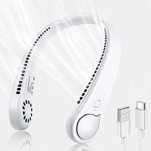 Ventilador de Cuello Colgante, Ventiladores Sin Aspas Manos Libres con 3 Velocidades, Ventilador Cuello USB Recargable, Mini Ventilador Portatil para Oficina/Viajes/Hogar/Deporte(Blanco)