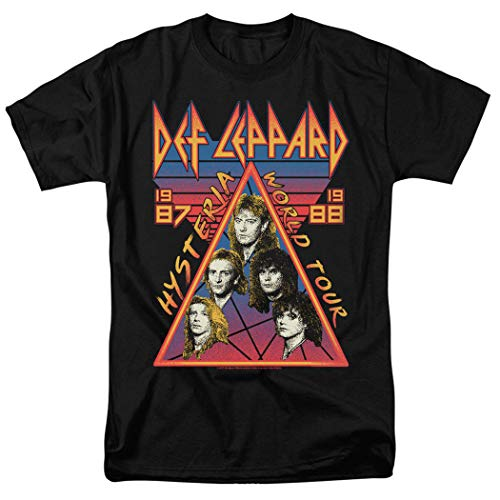 Def Leppard Hysteria Tour 80s Rock Music T Shirt & Stickers (Large) Black
