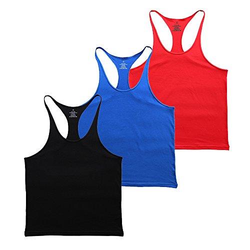 MUSCLE ALIVE Blank Bodybuilding Stringer Tank Tops Men Cotton Size M Black Blue Red 3 Packs