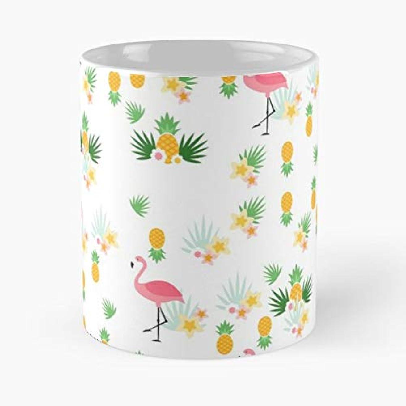 Tropical Flamingo Pineapple Pineapples - Morning Coffee Mug Ceramic Best Gift