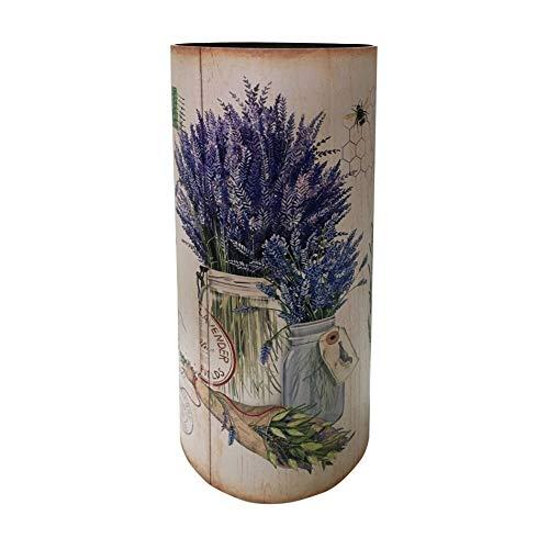 Rebecca Mobili Design Schirmständer, Dekorativer Stockhalter, MDF Canvas, Shabby Beige, Rund, Mit Tropfunterschale - Maße: 54 x 23 x 23 cm (HxLxB) - Art. RE6477