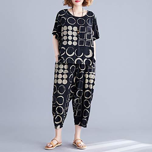 Decdeal T-shirt vintage feminina 2 peças casuais com decote em O, manga curta, calças Harem com padrão geométrico terno solto e justo