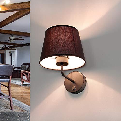 Wandleuchte Stoff Schirm Trichter Grau Metall Gestell Bauhaus Design Schlicht E27 Flurlampe Wandlampe