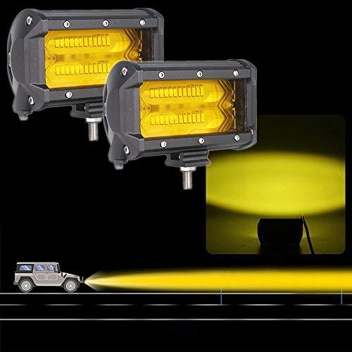 【HOZAN照明】2個セット 角度可調整72W 5インチ 4Dレンズ LED スタイルスタイリング ワークライトバー スポットビーム アンバー色12V 24V For オフロード バイク ボートATV UTV SUV ジープ トラック