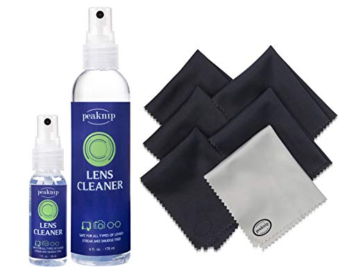 Eyeglass Lens Cleaner Kit - 6 oz. Spray Bottle and 1 oz. Travel Spray Bottle + 6 Microfiber Cleaning Cloths - Safe for All Lenses, Eyeglasses and Screens