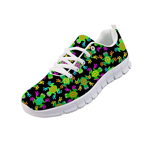 CLOHOMIN Green Frog Print Women Fashion Sneakers Cute Animal Running Sport Shoes Lace-up Daily-Shoes Novelty Women's Running Jogging Shoes Lightweight and Comfortable Air Mesh Athletic Tennis Shoes