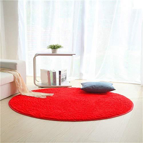 JeogYong Alfombras, Redonda Alfombra de Lana de Seda Artificial para Sala de Estar,Baño y Dormitrio (Rojo, 80cm)