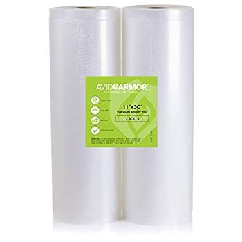 2 Pack 11x50 Rolls Vacuum Sealer Bags for Food Saver Seal a Meal Vac Sealers Heavy Duty Commercial BPA Free Sous Vide Vaccume Safe Cut to Size Storage Bag 100 Feet Embossed Avid Armor