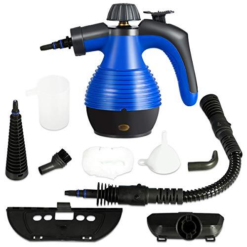 GOPLUS Mehrzweck Dampfreiniger, Handdampfreiniger mit 350 ml Wassertank, 3 Bar, 1050 W, 3-5min Aufheizzeit, mit 9 Zubehörteilen für Fleckenentfernung von Teppich Vorhang Autositz Küche (Blau)