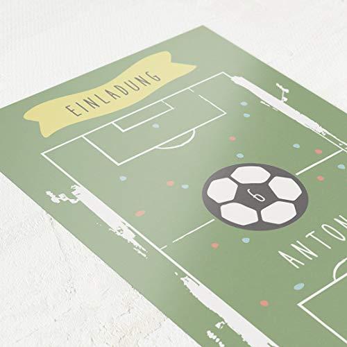 Witziges Fußball Motiv, Einladungskarten Kindergeburtstag, Junge, personalisiert mit individuellem Einladungstext, Lebensjahre anpassbar, 5er Karten-Set, Postkarte C6, optional mit Umschlägen
