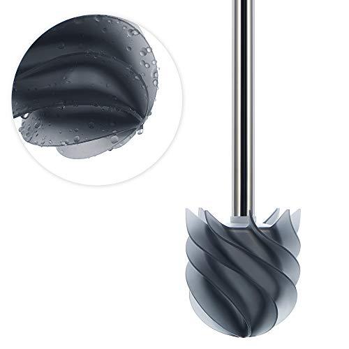 LOOMAID Silikon WC Bürste mit Lotuseffekt – Made in Germany – Ersatz Toilettenbürste Silikon, Klobürste Silikon Edelstahl (Grau)