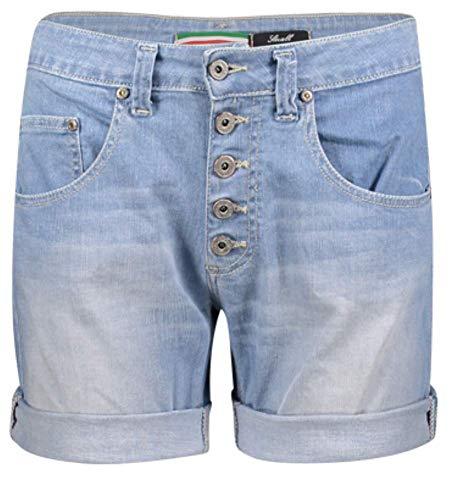 Please Damen Jeans Short P88A Boyfriend - Blau - Light Blue Denim XXS XS S M L XL Stretch 98% Baumwolle Kurze Hose Bermuda, Größe:XS, Farbe:Light Blue Denim (1670)
