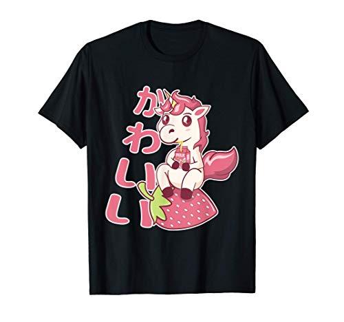 Kawaii Chibi Unicorn Strawberry Milk カワイイ いちごミルク ユニコーン Tシャツ