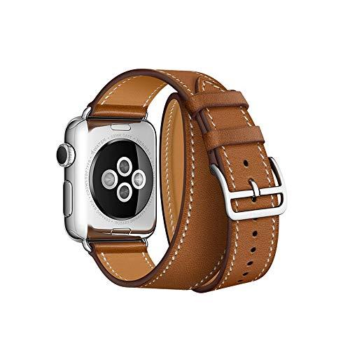 Arkrdiif Compatible con Apple Watch, 38 mm, 40 mm, 42 mm, 44 mm, doble cara, fina, correa de repuesto con cierre de acero inoxidable para iWatch Serie SE 6/5/4/3/2/1 (38 mm/40 mm, marrón).