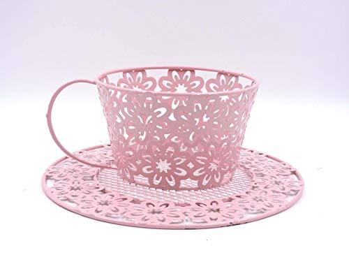 Shabby Chic excuisite Tea Cup Shaped Floral Planter Stand Pink Wrought Iron, Home Decor
