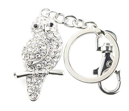 Quadiva Bag Charm Owl Taschenanhänger für Damen (Farbe: Silber/schwarz) mit Kristallen besetzt