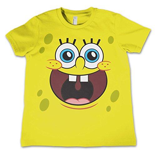 Offizielles Lizenzprodukt Sponge Happy Face Unisex Kinder T Shirts - Gelb 9/10 Jahre
