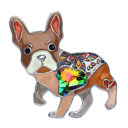 DOWAY Cartoon Cute French Bulldog Dog Rhinestone Enamel Pins Brooch for Backpacks Badges Clothing Bags Jackets Jewelry Gift (Brown)